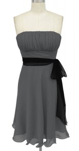 Gray Chiffon Pleated Bust W/ Sash Dress