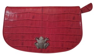 Karen Callan Bright Red Alligator Skin Wallet with Frog Detail, Coinpurse Included
