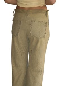 Kerry Grimd Suede Perforated Capri/Cropped Pants olive green