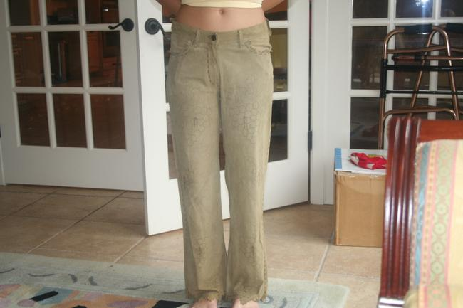 Kerry Grimd Suede Perforated Capri/Cropped Pants olive green Image 1