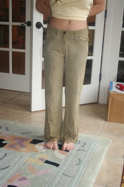 Kerry Grimd Suede Perforated Capri/Cropped Pants olive green Image 8