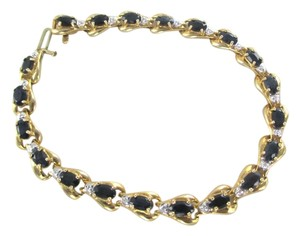 Other 10KT SOLID YELLOW BRACELET BANGLE SAPPHIRE 20 GENUINE DIAMONDS 8.2 GRAMS JEWELRY