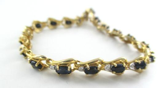 Other 10KT SOLID YELLOW BRACELET BANGLE SAPPHIRE 20 GENUINE DIAMONDS 8.2 GRAMS JEWELRY Image 1