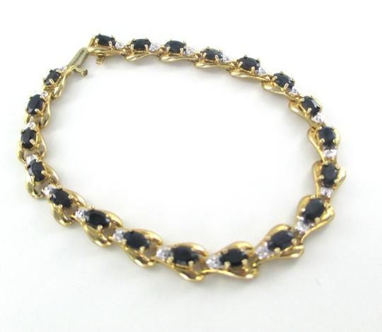 Other 10KT SOLID YELLOW BRACELET BANGLE SAPPHIRE 20 GENUINE DIAMONDS 8.2 GRAMS JEWELRY Image 2