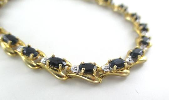 Other 10KT SOLID YELLOW BRACELET BANGLE SAPPHIRE 20 GENUINE DIAMONDS 8.2 GRAMS JEWELRY Image 3