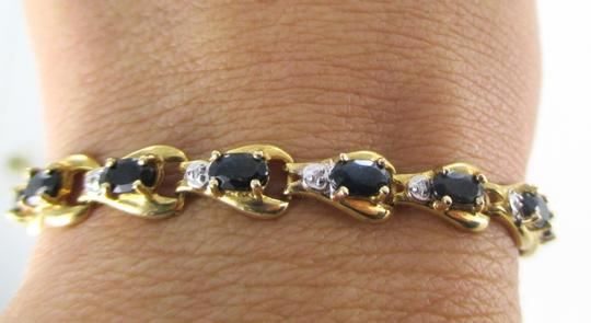 Other 10KT SOLID YELLOW BRACELET BANGLE SAPPHIRE 20 GENUINE DIAMONDS 8.2 GRAMS JEWELRY Image 5