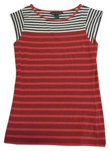 French Connection Nautical Striped T Shirt Red, dark red, navy and white