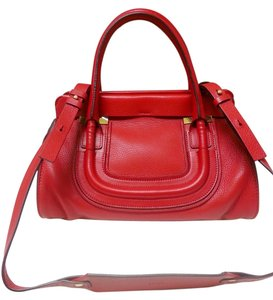 Chloé Chloe Leather Acerola Satchel in Red