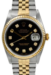 Rolex Rolex DateJust 18K Yellow Gold Custom Diamond Black Dial Men's Watch
