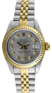 Rolex Rolex Datejust 18K Gold and Steel Custom Diamond Dial Ladies Watch