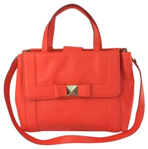 Kate Spade Bow Terrace Bradshaw Leather Convertible Satchel in Maraschino Red Orange