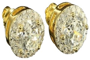 Sterling Silver Earrings Studs Big Stone Solitaire Lab Diamond Golden Men Womens