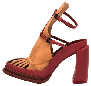 Ann Demeulemeester Leather Geniune Tan and Red Platforms