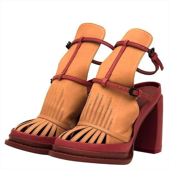 Ann Demeulemeester Leather Sandal Geniune Tan and Red Platforms