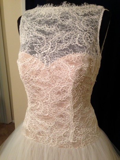 Theia Ivory and Blush Lace Tulle Couture 890038 Feminine Wedding Dress Size 12 (L)