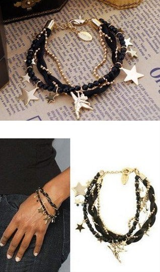Other Stars Angel Charms Gold And Black bracelet