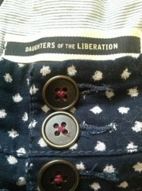 Daughters of the Liberation Cuffed Shorts Navy, Cream polka dots