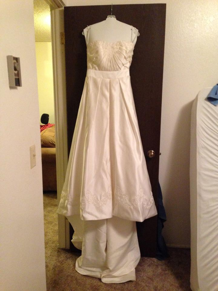 David 39 s bridal a line pleated strapless wedding dress with for Wedding dress under garments