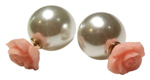 New Double Sided Ball Faux Pearl Pink Rose Stud Earrings J1331