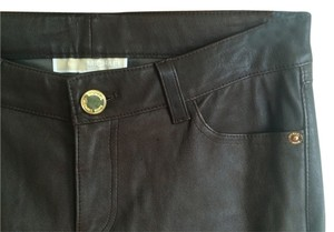 Michael Kors Leg Designer Straight Pants Brown Leather