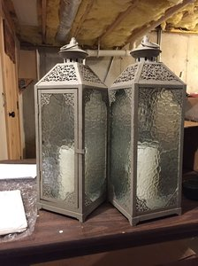 Pier 1 Imports Gray 2 Tall Pebbled Glass Lanterns Ceremony Decoration