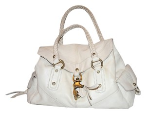 Francesco Biasia Secret Lover Ivory White Satchel in Navy Blue
