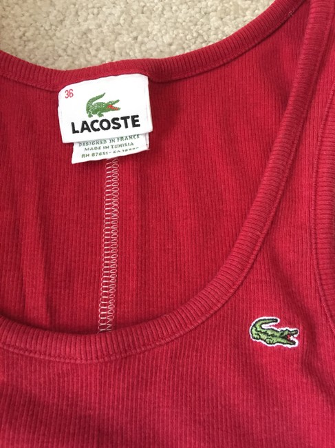 Lacoste Crocodile Small Medium Designer Logo Fitted Top Red Image 1