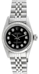 Rolex Rolex Datejust Stainless Steel Custom Diamond Black Dial Ladies Watch