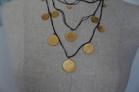 Turkish Black Gypsy Necklace with Golden Coins