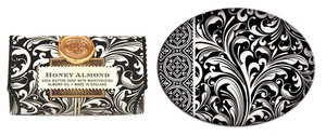 Michel Design Works Black Florentine Large Soap with Glass Soap/Candy Dish - Scent: Honey Almond (Brand New)