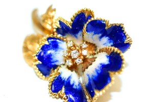 French Brooch Tulip Enamel Diamond Brooch