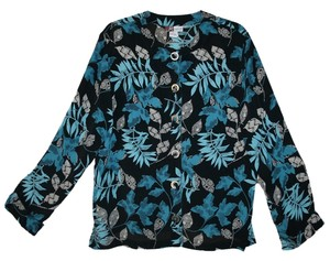 Jennifer Moore Light Jacket Top Black, Blue, Gray, Multi Floral Print