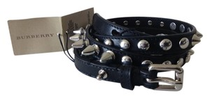 Burberry Burberry Metal Silver Tone Spike Studded Black Leather Belt Size 36/90