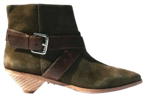 Matt Bernson Suede Leather Vintage Ankle Strap Olive Boots
