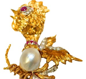 American Rooster American Diamond Rooster Brooch