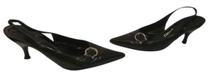 Salvatore Ferragamo Upper Made Italy Silver Horseshoe Black leather leather lining Italian slingback Pumps