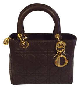 Dior Cannage Tote Satchel in Dark Brown