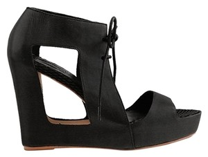 Matiko Sandal Leather Platform Hidden Platform Black Wedges