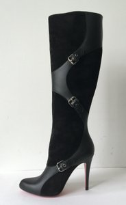 Christian Louboutin Suede Leather 100mm Knee High Black Boots