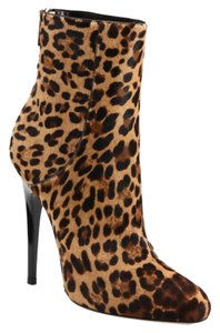 Jimmy Choo Brinley Saks Fifth Avenue Leopard Cheetah Fur Ankle Tan Boots