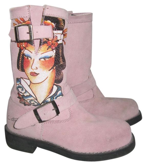 Ed Hardy Pink Tattoo Geisha Japan Style Engineer Biker Motorctycle Boots/Booties Size US 6 Wide (C, D) Ed Hardy Pink Tattoo Geisha Japan Style Engineer Biker Motorctycle Boots/Booties Size US 6 Wide (C, D) Image 1