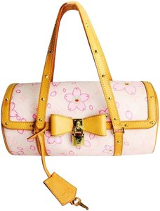 Louis Vuitton Papillon Takashi Murakami Tote in Rose, pink