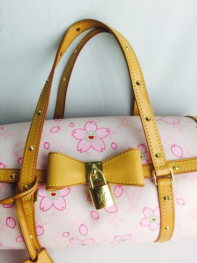 Louis Vuitton Papillon Takashi Murakami Cherry Blossom Limited Edition Barrel Tote in Rose, pink