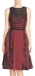 Taylor Sleeveless Print Shantung Fit & Flare Dress
