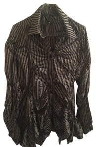 Dress To Kill Button Down Shirt BLACK AND GRAY STRIPED