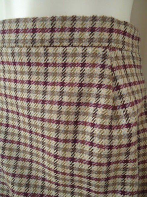 Other Punto Di Vista Straight Wool Cashmere Blend Plaid Lined Italy Chic Skirt Multi-Color Image 2