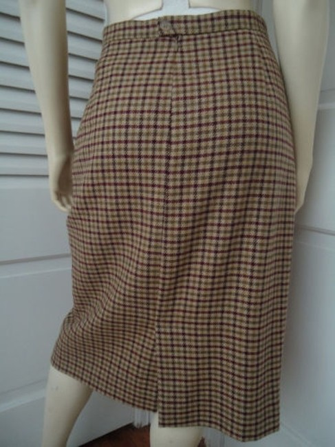 Other Punto Di Vista Straight Wool Cashmere Blend Plaid Lined Italy Chic Skirt Multi-Color Image 3