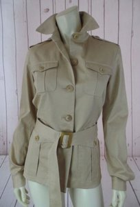 Ralph Lauren Black Label Cotton Belt Button Front Safari Style Chic Tan Jacket