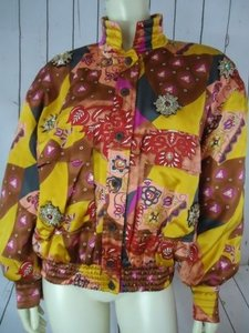 Escada Bomber Coat Silk W Germany Quilted Bead Appliques Geometric Mustard, Red, Brown, Purple Jacket
