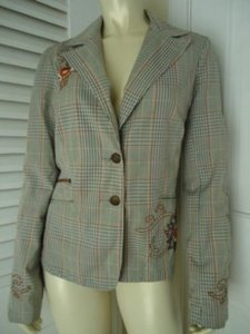 Love Stitch Lovestitch Blazer Coat Hippie Boho Plaid Embroidery Buttons Lined So Hot